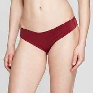 Women's Laser Cut Thong with Lace Back Auden RED